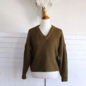 Madewell Pleat Sleeve Sweater M Olive Moss Green